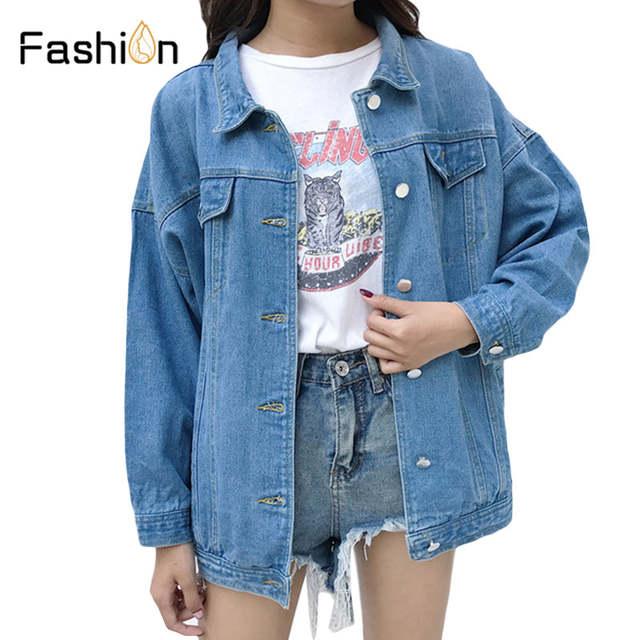 190f4d0cf2dc6 Denim Jeans Jacket for Women Slim Ripped Holes Vintage Bomber Jackets Girls  Basic Coats Woman Coat