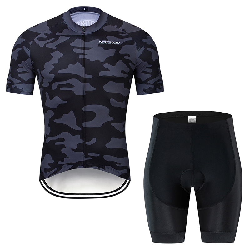 Black camouflage pattern short sleeves and shorts bicycle breathable quick dry sweat resistant summer knit bicycle shirt set