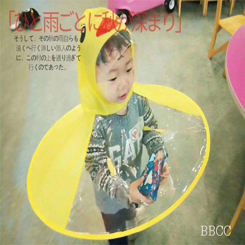 Home Kids Yellow Duck Raincoats Ufo Cap Umbrella Cosplay Student Rain Coats Automatic Folding Umbrella Creative Design Childrenbaby