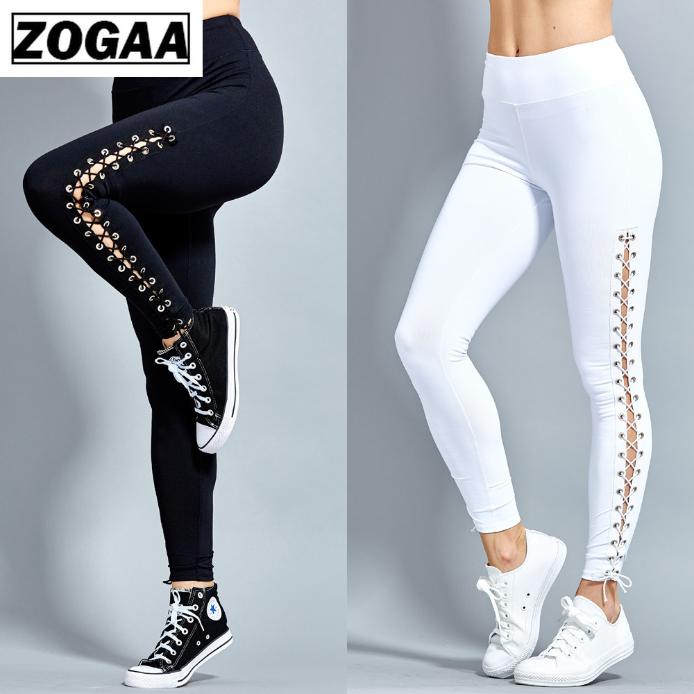 Sexy Black White Leggings Women Fashion Sport Leggings Leggins Sport Women Fitness Pants Casual Ankle-Length Polyester Pant Price $18.43