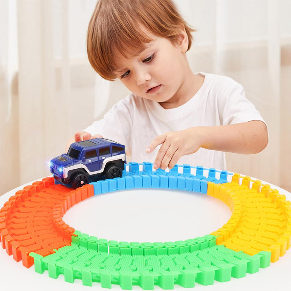 Children Assembled Electric Rail Car with Track Toy Railcar Cool Lights Colorful Art Stitching