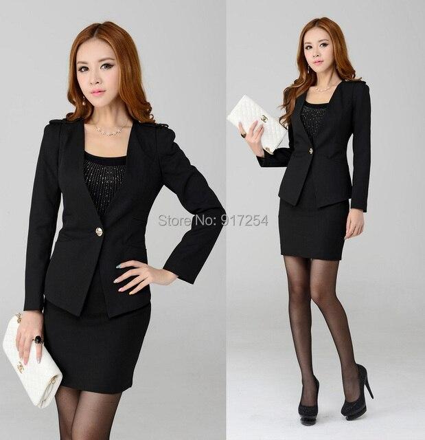 29d189eecf0f 2015 nueva moda ropa de trabajo profesional falda establece mujeres abrigos  oficina Set trajes de negocios
