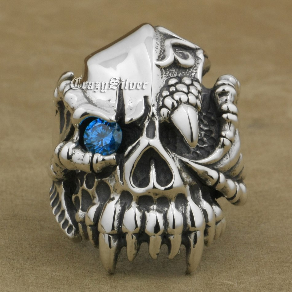925 Sterling Silver Dragon Claw CZ Eyes Skull Mens Biker Rocker Punk Ring 9M102 US Size