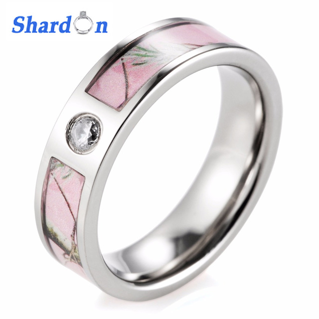 SHARDON rings Pink Camo Engagement Wedding Ring Titanium CZ Crystal