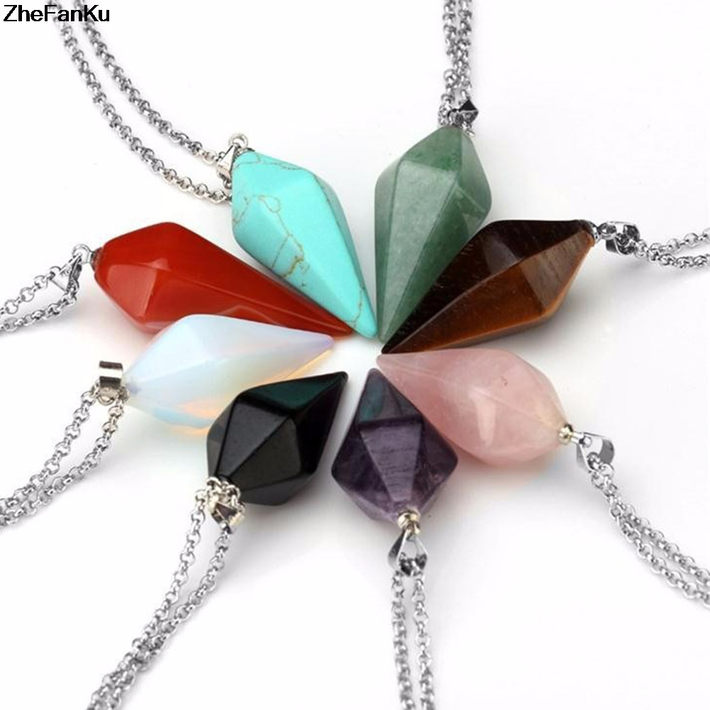 2018 New Fashion Style hot choker necklace women Hexagonal columns of natural stone pendant 8 colors tapered  crystal color