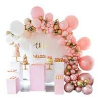 Demir daireler standı Düğün doğum günü bebek duş için büyük kemer arka planında dekor yuvarlak raf karşılama için sahne balon çiçekler