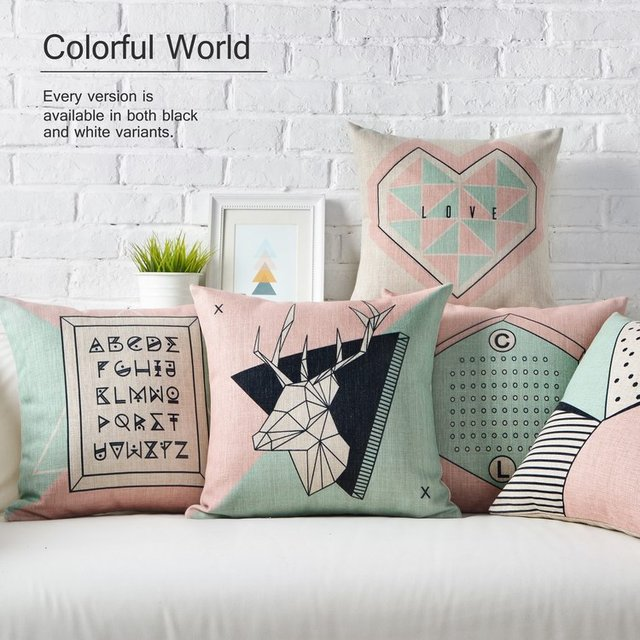 Cheap Nordic Styles Geometric Deer Home Decor Pillow linen geometric cotton throw pillow Decorative couch sofa chair Pillows