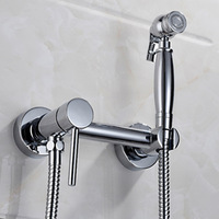 Exempt from Drilling Cold and Hot Bathroom Shower Toilet Jet Cleaner Portable Bidet Shower Spray Brass Wall Mount Faucet