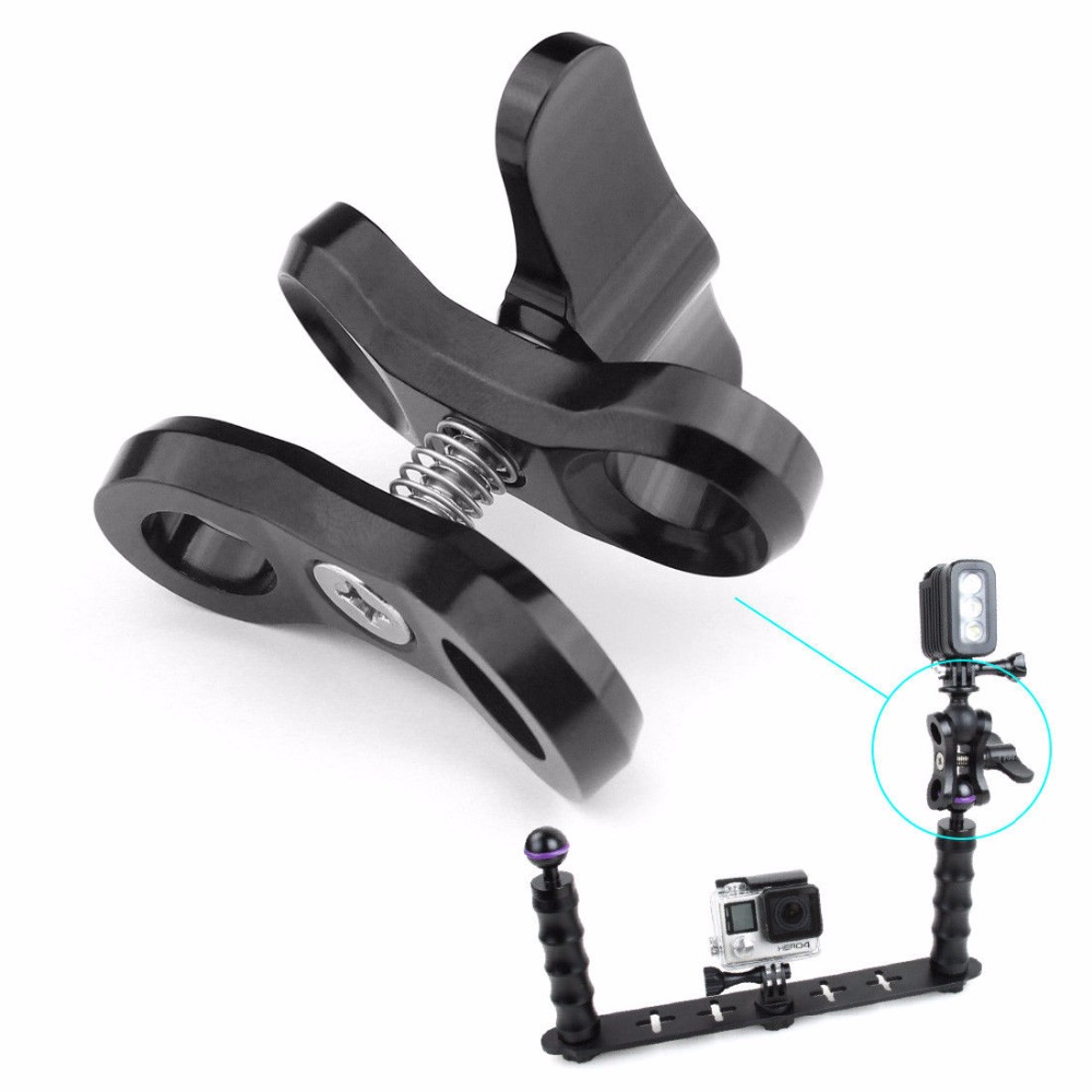 CNC All mental Diving Lights Ball Butterfly Clip Arm Clamp Mount Aluminum For 3 4 5 Xiaoyi Gitup for Gopro 5 6 Diving Ball Fix in Sports Camcorder Cases from Consumer Electronics