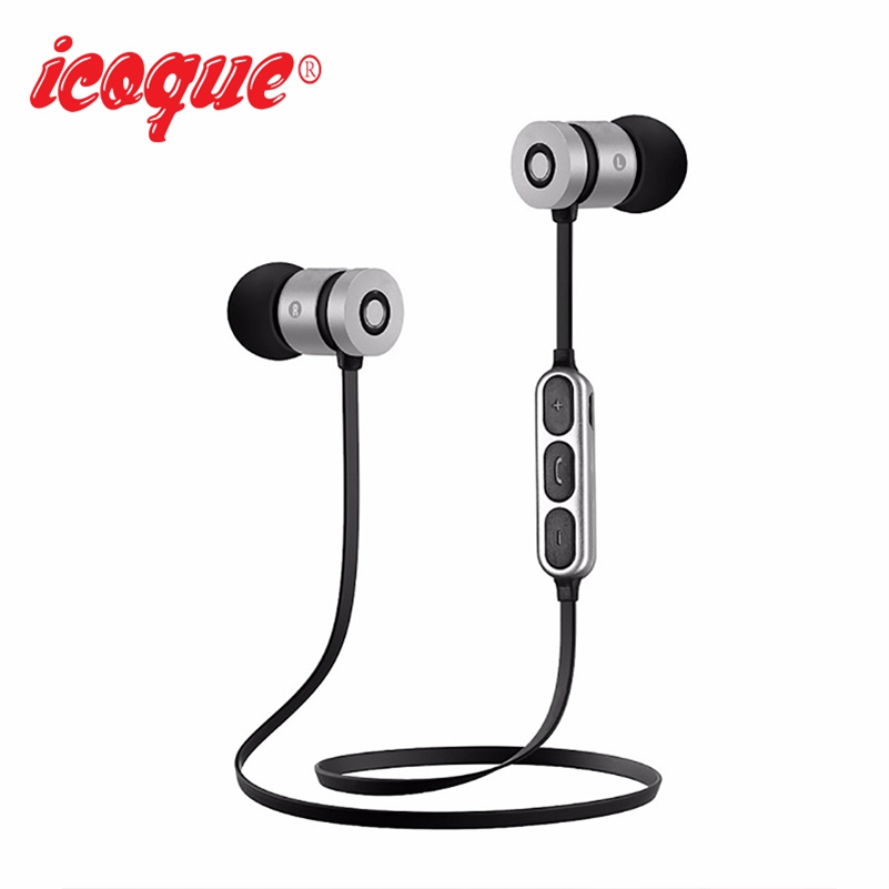 Icoque Magnet Hifi Earphone Bluetooth Wireless Headphones with Mic for Phone Xiami Samsung iPhone In-ear Stereo Earbuds Earphone original senfer dt2 ie800 dynamic with 2ba hybrid drive in ear earphone ceramic hifi earphone earbuds with mmcx interface