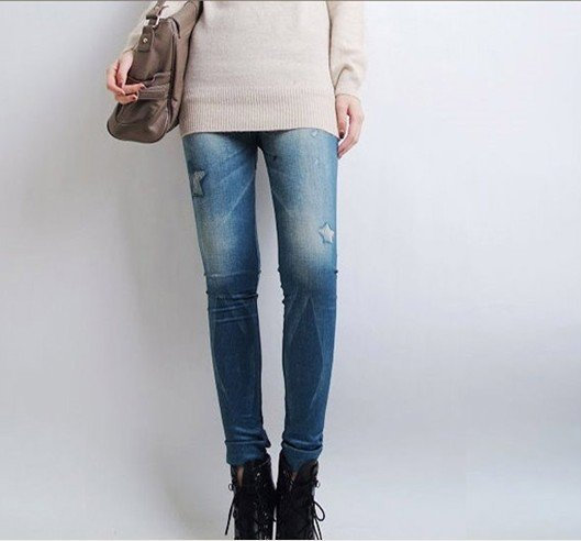 2016 New Women Legging Fashion Stars Printed Look Like Fux Denim Leggings Sexy Skinny Jeans Leggins D001