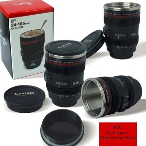 Free shipping 60pcs/lot 2013 New Arrival CPAM Coffee camera lens mug cup ABS+Silicone+Stainless Steel Wholesale