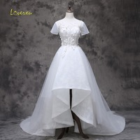 Loverxu Delicate Appliques O Neck Beaded High Low Wedding Dress 2017 Elegant Short Sleeve Lace Court