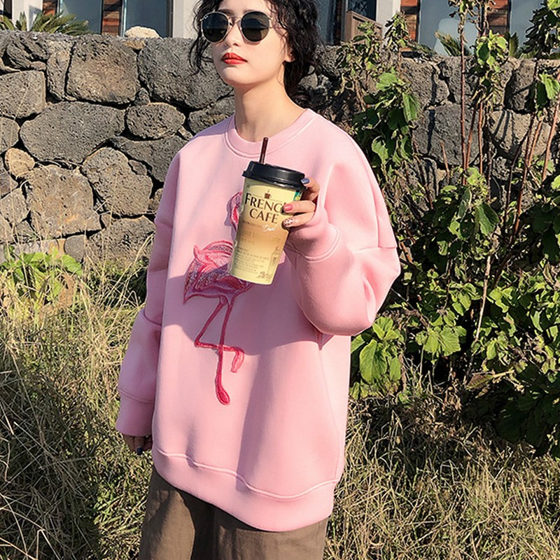 Pink Flamingo Embroidery Space Cotton Sweatshirt 5