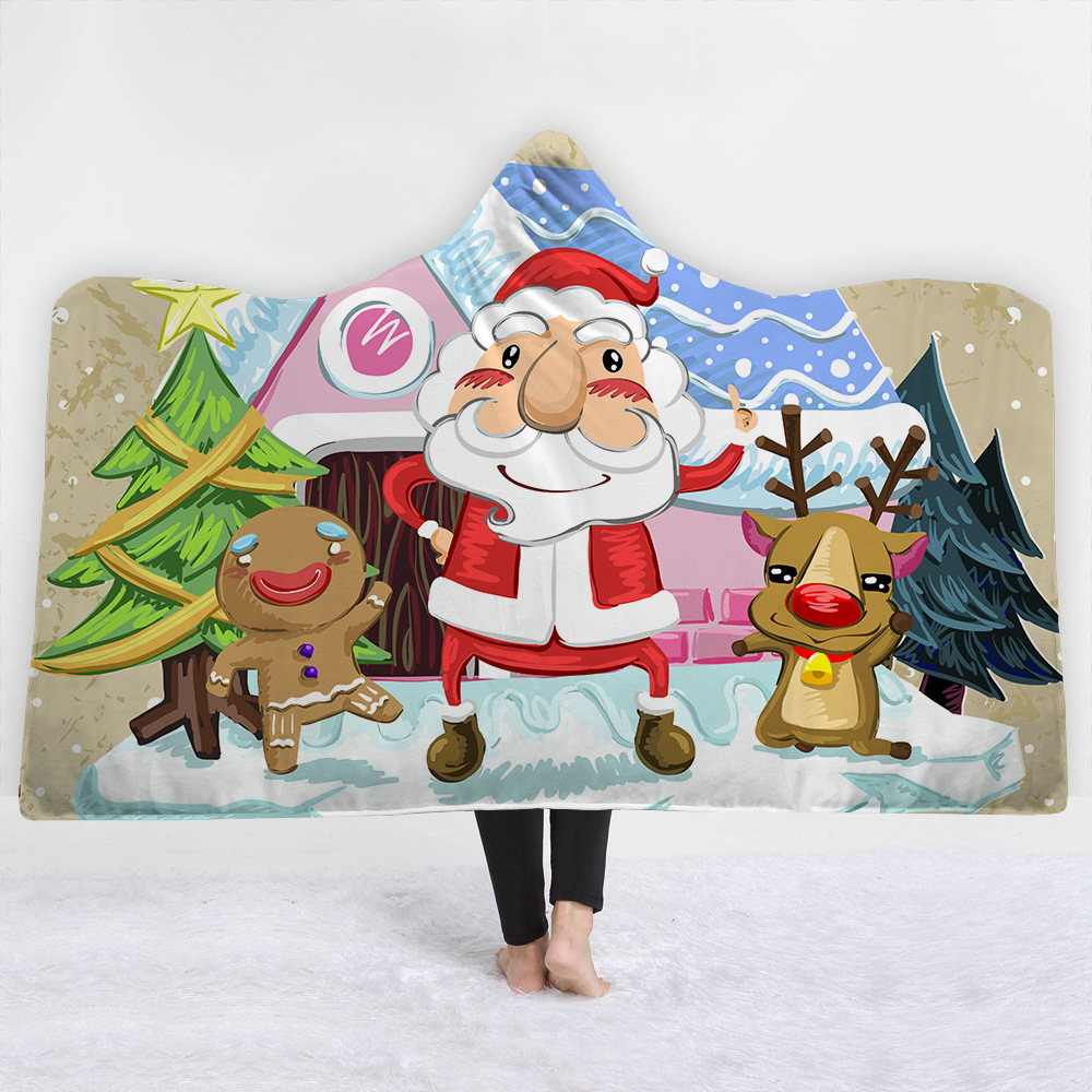 37 Styles Merry Christmas 3D Printed Plush Hooded Blanket For Adult Child  Warm Wearable Soft Fleece Throw Blankets Xmas Heated Zebra Blanket Grey And