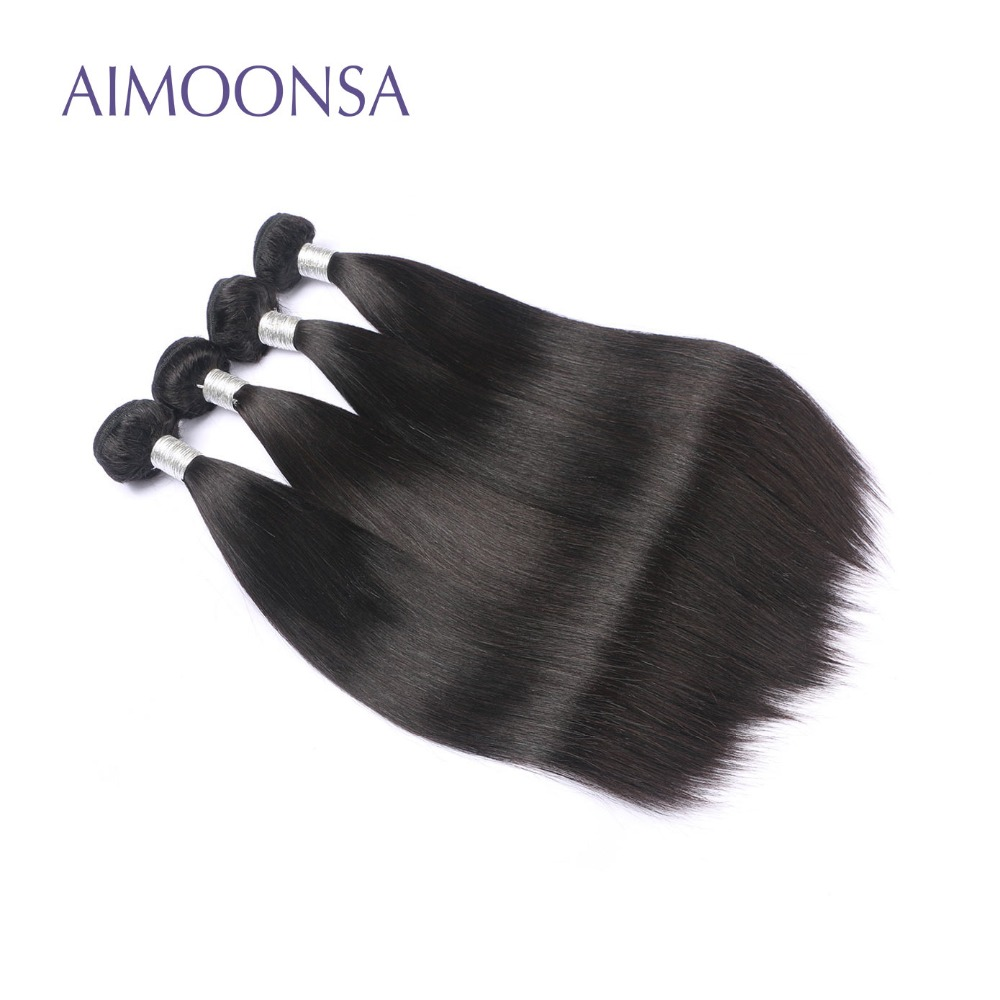 4 Bundles Brazilian Straight Human Hair Extension Remy Hair Weave For Black Women Natural Color 10