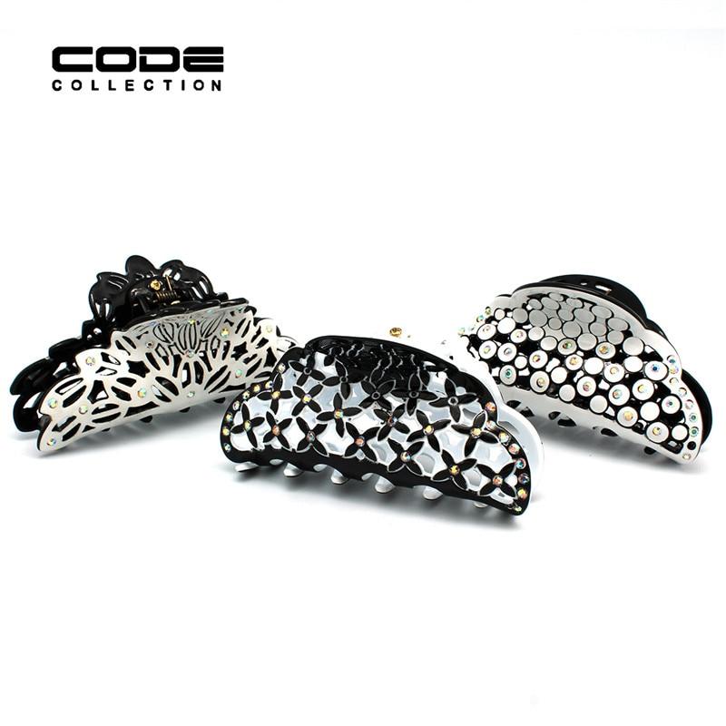 Marca de lujo recorte garra del pelo para las mujeres moda grandes pinzas para el cabello de acrílico con coloridos accesorios de decoración de diamantes de imitación A73-A75