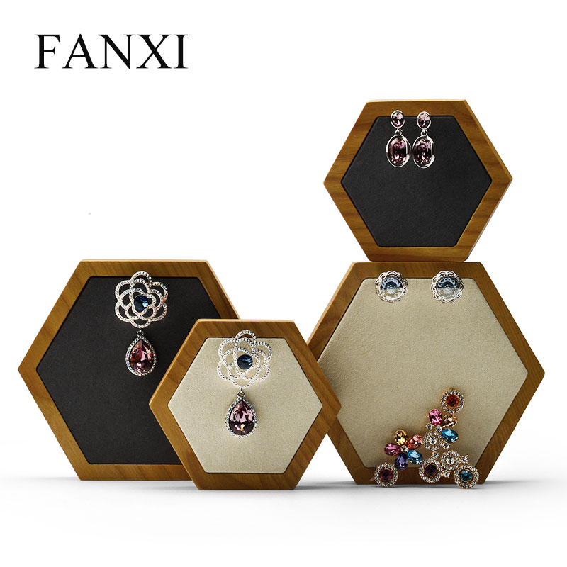 FANXI 2 Pcs /Set Rhombus Jewelry Display Stand With Microfiber Necklace Earrings Bracelet Holder Organizer  For Jewelry Showcase