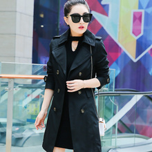 Women windbreaker 2017 spring and autumn Slim thin Trench coat female black khaki and green coats plus size casacos bs5335