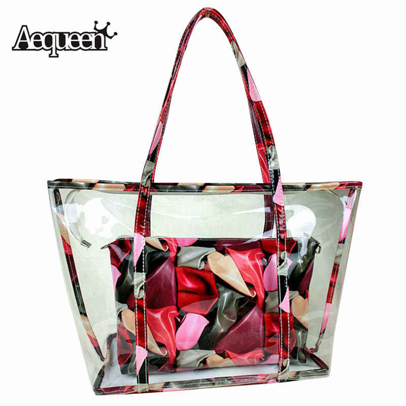 AEQUEEN Women's Clear Transparent Handbags Plastic Candy Jelly Bag Set Beach Large Capacity Shoulder Bags Colorful Totes Purses