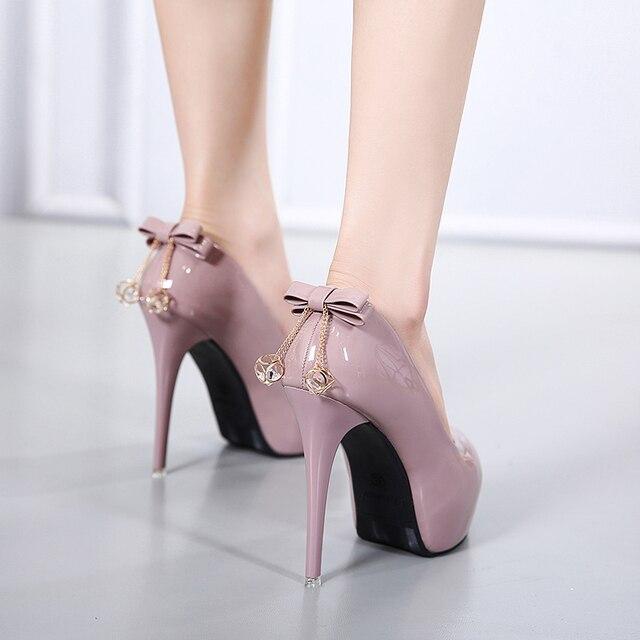 2018 fashion women Super High Heels shoes Concise 4CM platform shoes pumps Wedding Party Sexy 12cm bow leather shoes MC-56