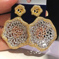 Dazz Luxury Lotus Tricolor Earring Shiny Full CZ Zircon Hollow Out Jewelry African Bride Women Wedding Banquet Accessories 2019