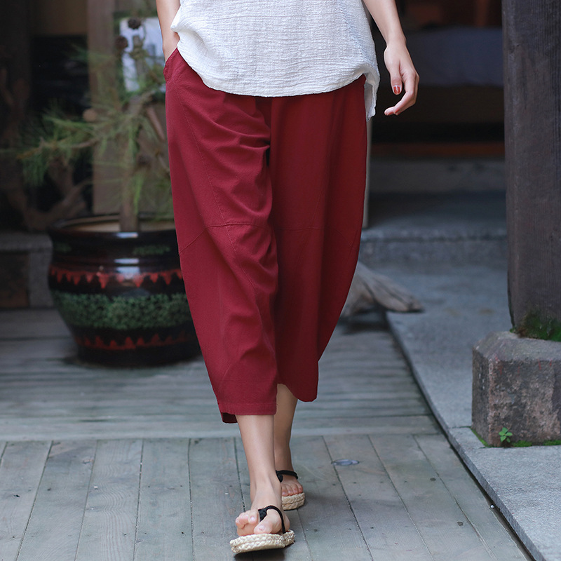 ORIGOODS Solid Elastic waist Women Harem   Pants     Capris   Vintage Loose Casual Summer   Pants   White Black Red Harem Trousers C176