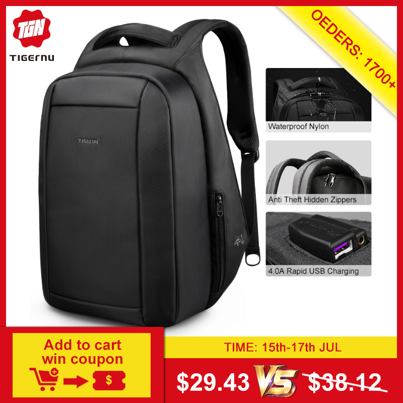 Tigernu Hidden Anti theft Zipper 15.6 inch Men School Laptop Backpacks Water Repellent Travel 20L Multi USB Charger Male Mochila(China)