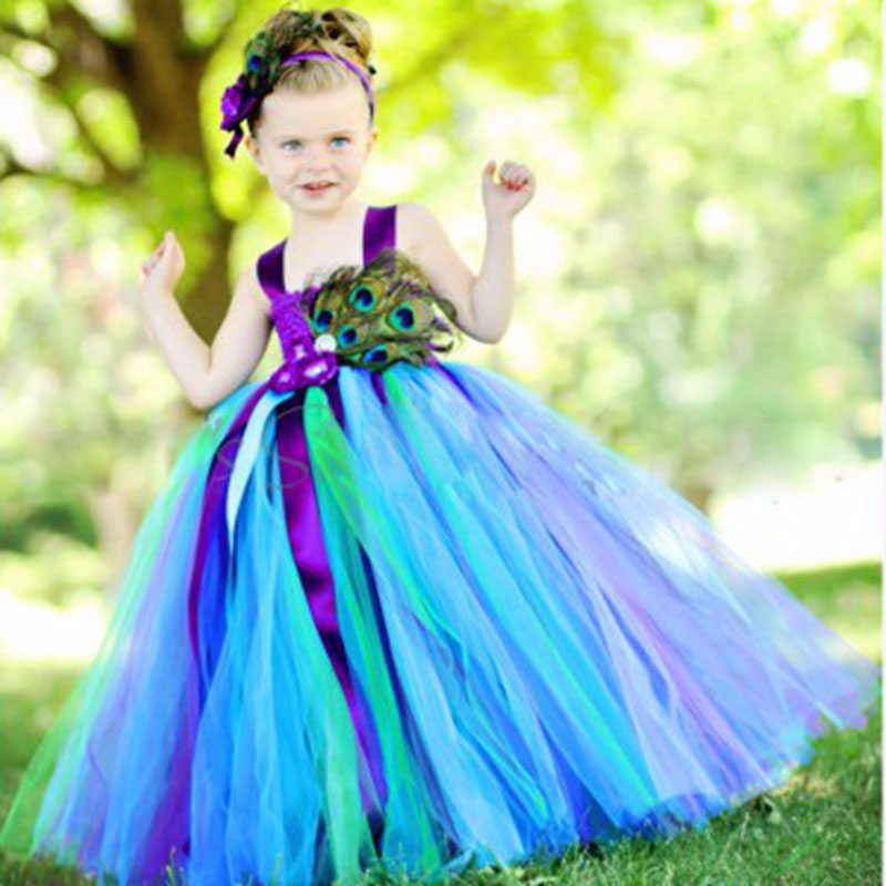 Girls Peacock Tutu Dress With Feather Long Handmade 1 14Y Kid Party Ball Gown Flower Wedding