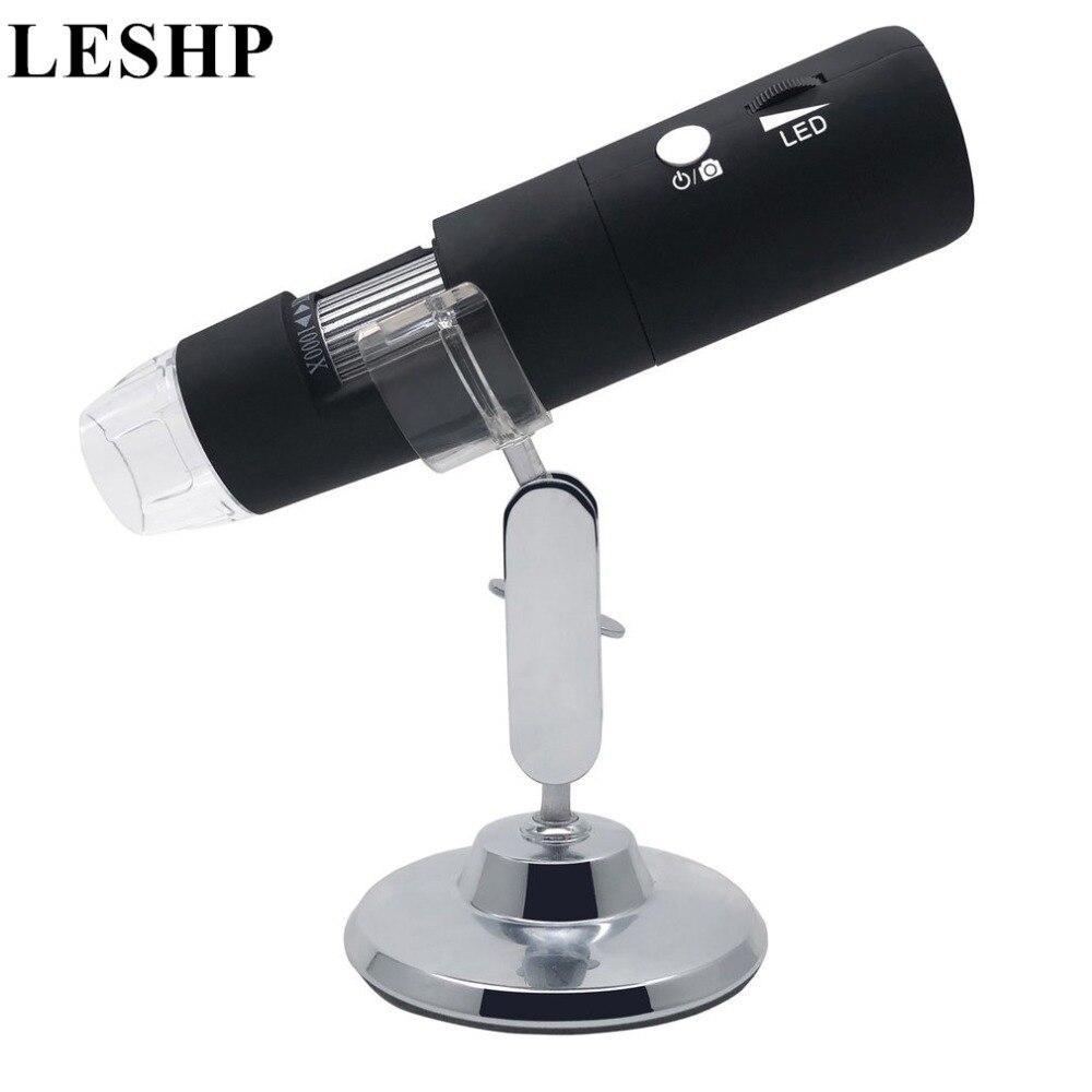 Mini Portable 2MP HD Wireless WIFI Digital Microscope 50~1000X 8LED Rotary Base Electronic Microscope Adjustable Brightness