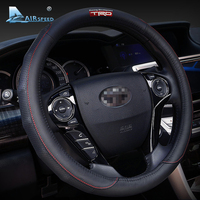 Genuine Leather Car Steering Wheel Cover TRD Black Interior Accessories Universal For Toyota Corolla Camry Reiz