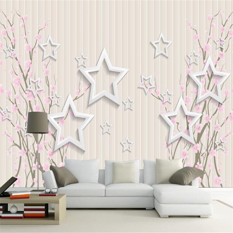 3d photo  wallpaper custom mural non-woven wall sticker modern 3d star flower TV sofa background wallpaper for bedding room купить в саратове формы для изготовления бордюра для грядок