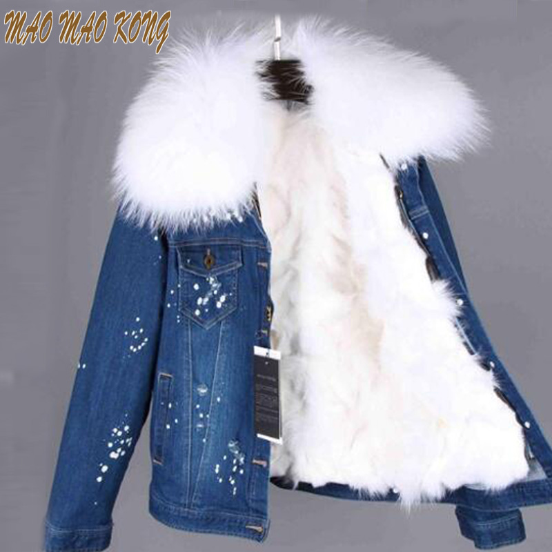 MAOMAOKONG Real Fox Fur Lining Denim Jacket Coat Parkas 100% Large Raccoon Fur Collar 2017 Women Winter Coat Jacket Denim 2017 winter new clothes to overcome the coat of women in the long reed rabbit hair fur fur coat fox raccoon fur collar