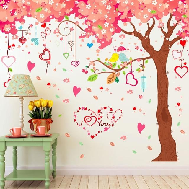 Big Size Cartoon Pink Warm Romantic Cherry Blossom Tree DIY Wall Stickers  Living Room TV/