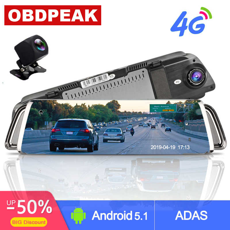 4G Android Mobil DVR 10 Inch Stream Kaca Spion FHD 1080 P Adas Dash Cam Kamera Video Recorder Auto pencatat Dashcam GPS