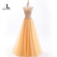 LOVONEY Luxury Evening Dress Long Lace Up Formal Party Dresses 2018 New Beading Occasion Dresses Women