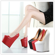 zapatos Plus:40-45 46 47 48 New Designer platforms Wedges Pumps 22cm Metal High Heel woman Round Toe wedding shoes