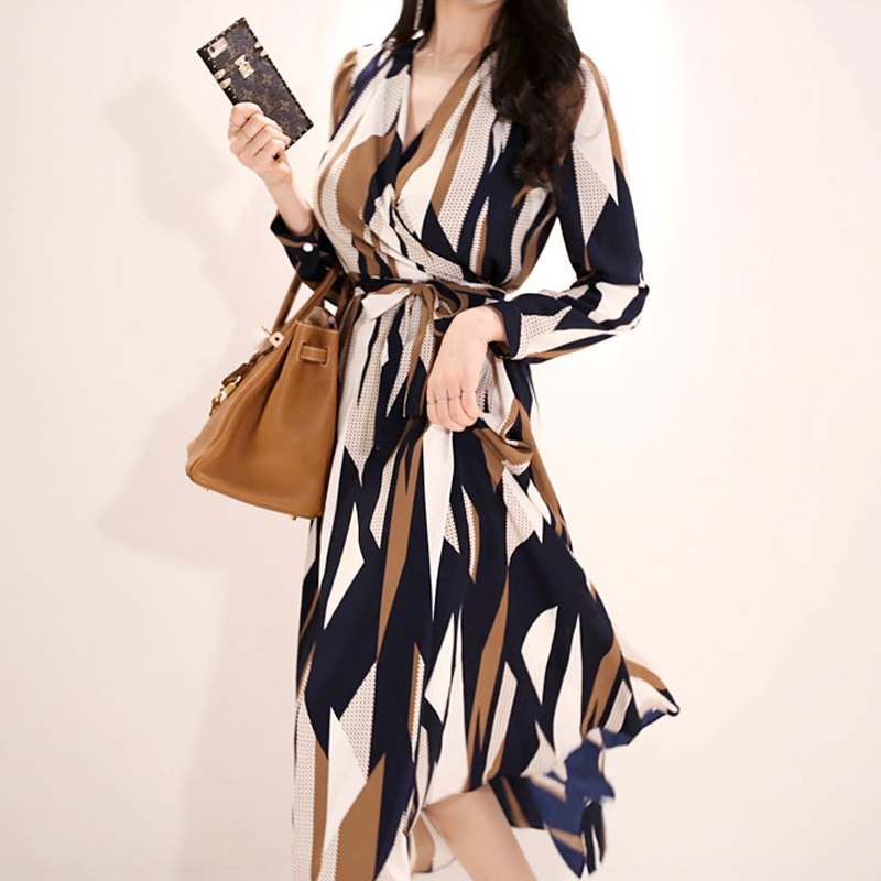 Korean 2019 Spring Office Casual Geometry Pattern Print Drap Long Dress Women Sexy V Neck Long Sleeve Belted Wrap Dress