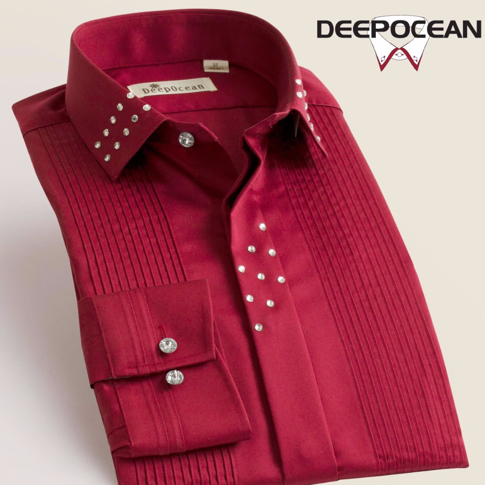Image 2 - Deepocean Brand Men Shirts Solid Vintage Fashion Men Tops Long 