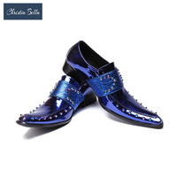 Christia Bella Men Shoes Casual Luxury Genuine Leather Blue Formal Dress Monk Buckle Straps Wedding Brogues Shoes Zapatos HomBre