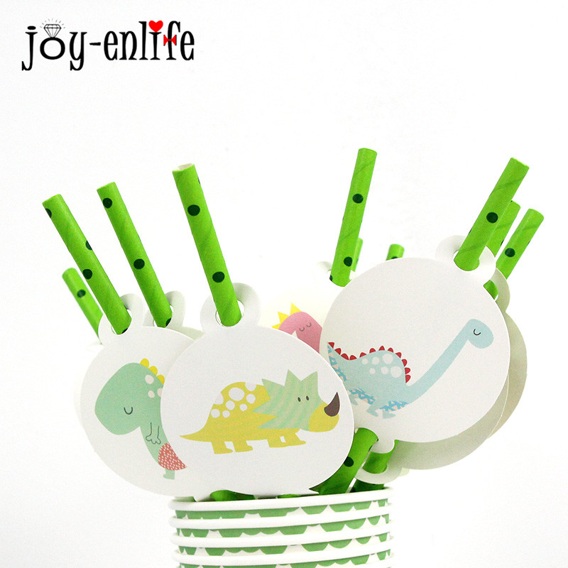12pcs Birthday Dinosaur Jungle Party Paper Staw Disposable Tableware Set Baby Shower Decorations Boy Birthday Party Supplies