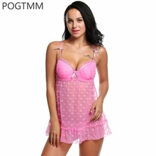 Lace Lingerie Sexy Hot Erotic Sex Costume Women Padded Strap Sheer Polka Dot Babydoll Dress See Through Nightwear Porn Underwear
