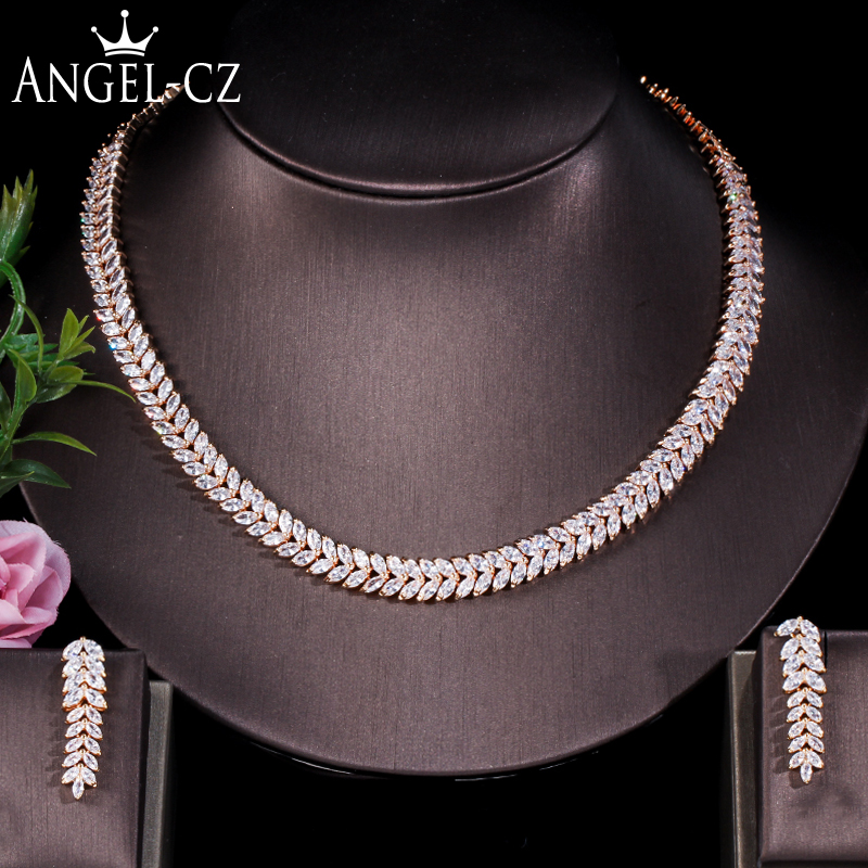 ANGELCZ Indian Yellow Gold Color Marquise Cubic Zirconia Leaf Shape Choker Necklace Earrings Dubai Jewelry Set For Wedding AJ136