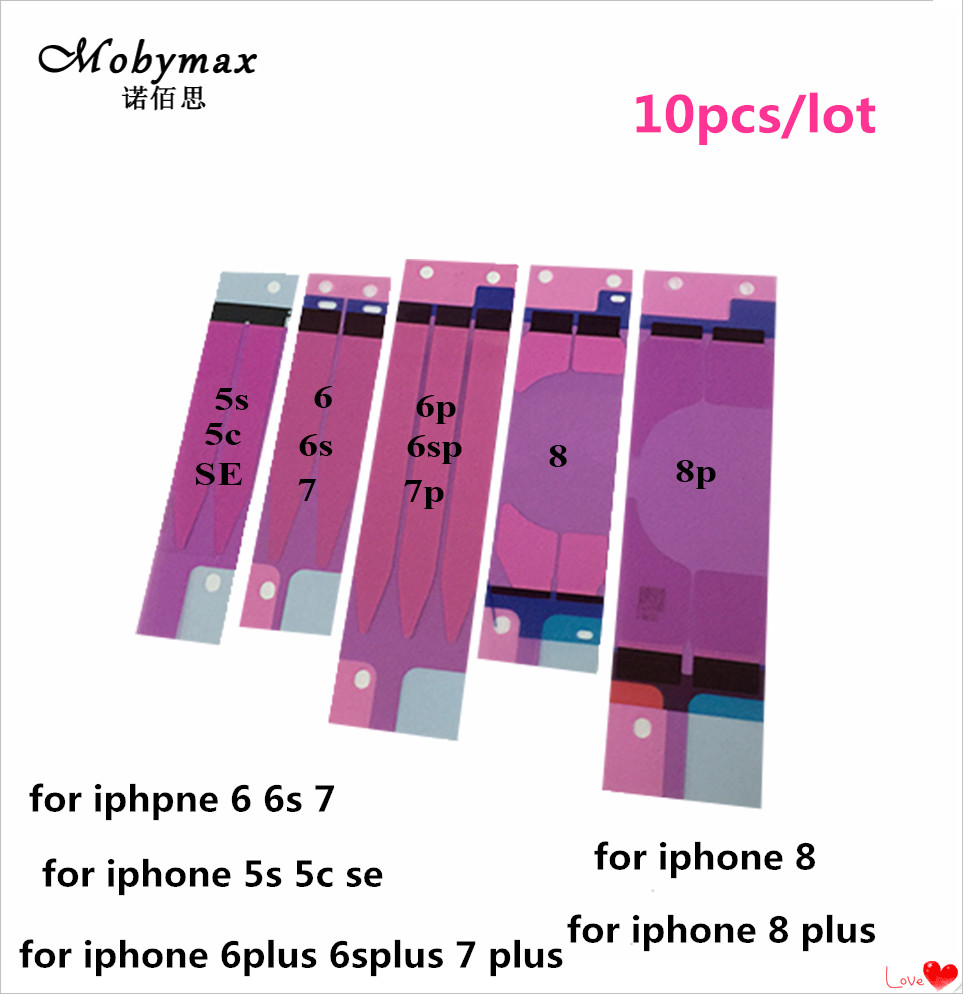 10pcs/lot or 100pcs/lot Battery Adhesive Sticker For iPhone 5s 5c 6 6s 7 8 plus Battery Glue Tape Strip Tab Replacement Part