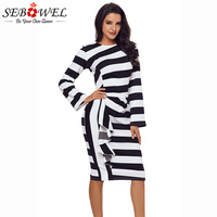 SEBOWEL 2018 New Casual Black White Striped Ruffle Midi Office Dress Women Autumn Long Sleeve Bodycon