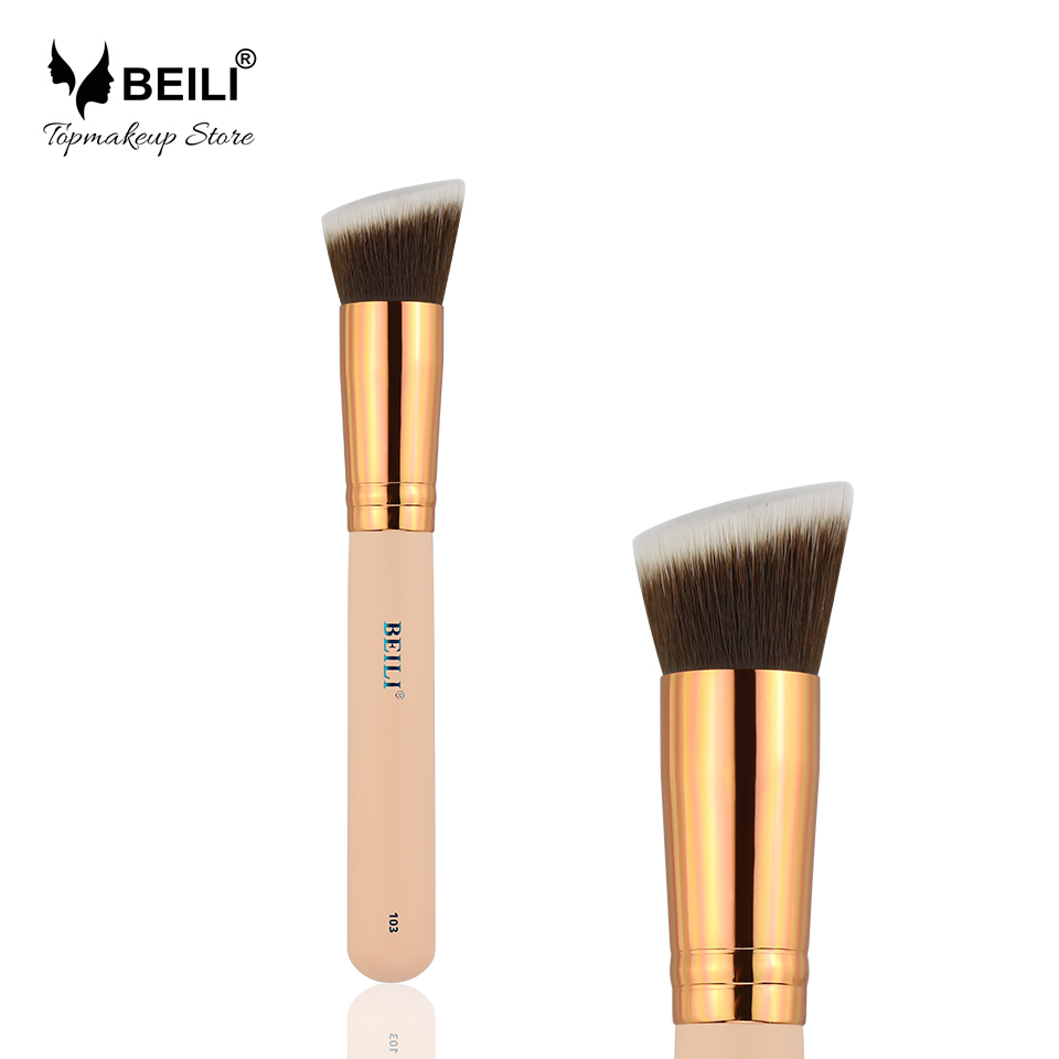 BEILI 103# Pink Angled Synthetic Foundation Blusher Contour Grey Hair Single Makeup Brush top quality foundation brush angled makeup brush
