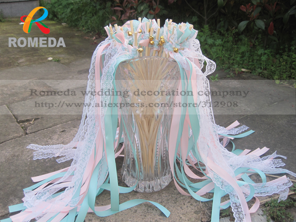 Style D New Arrived 3 Ribbons stick lace wedding wands Pink Mint Ribbon Birthday Party christmas