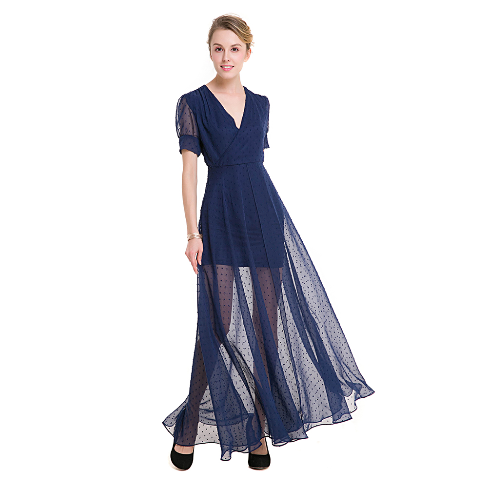 TFGS Women Original Design Chiffon Long Dress Sexy V Neck Party Women Fashion Slimming Chiffon Split