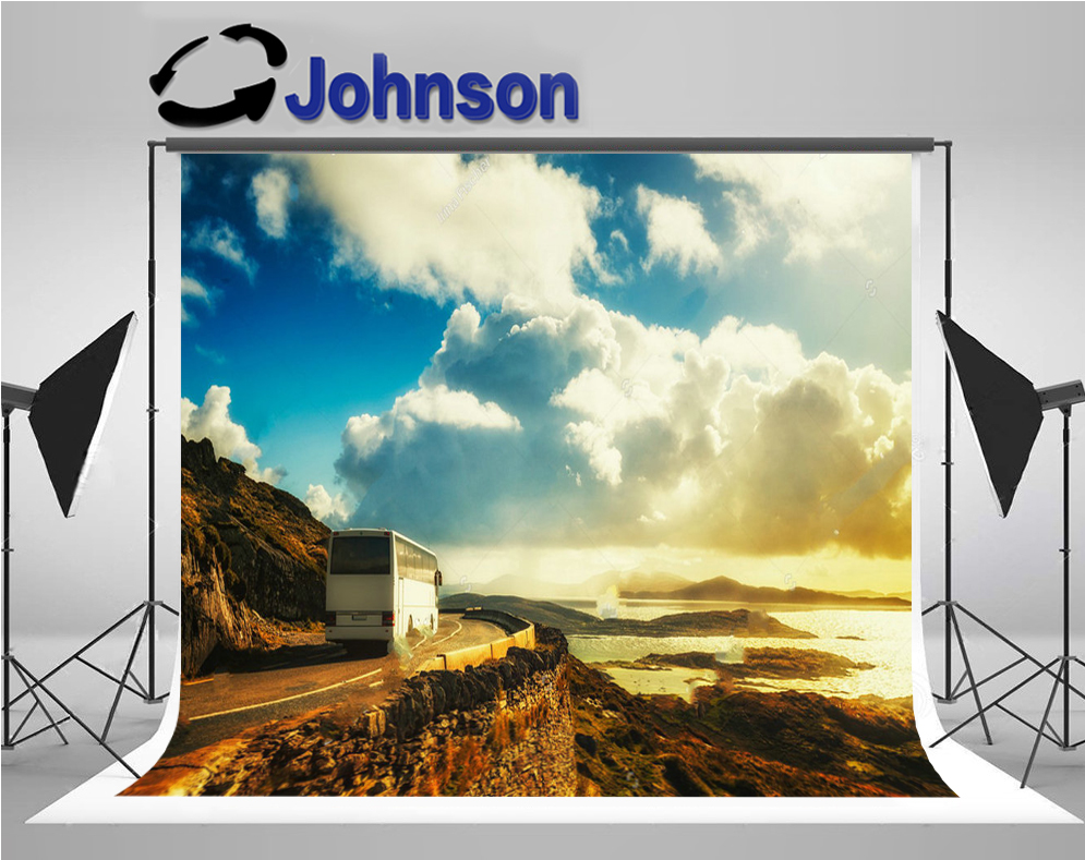 wall photography backgrounds Vinyl cloth High quality Computer print Blue Sky White Clouds White Bus Mountain Road backdrop