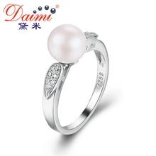 lindo daimi pearl anillo, natural 7-8mm río redondo perla& hoja, plata de ley 925 joyería, boda